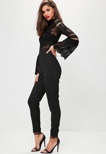 black crochet lace top flare sleeve jumpsuit missguided. Black Bedroom Furniture Sets. Home Design Ideas