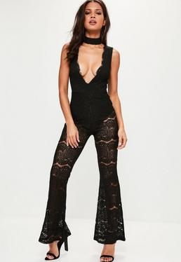 Black Plunge Lace Jumpsuit