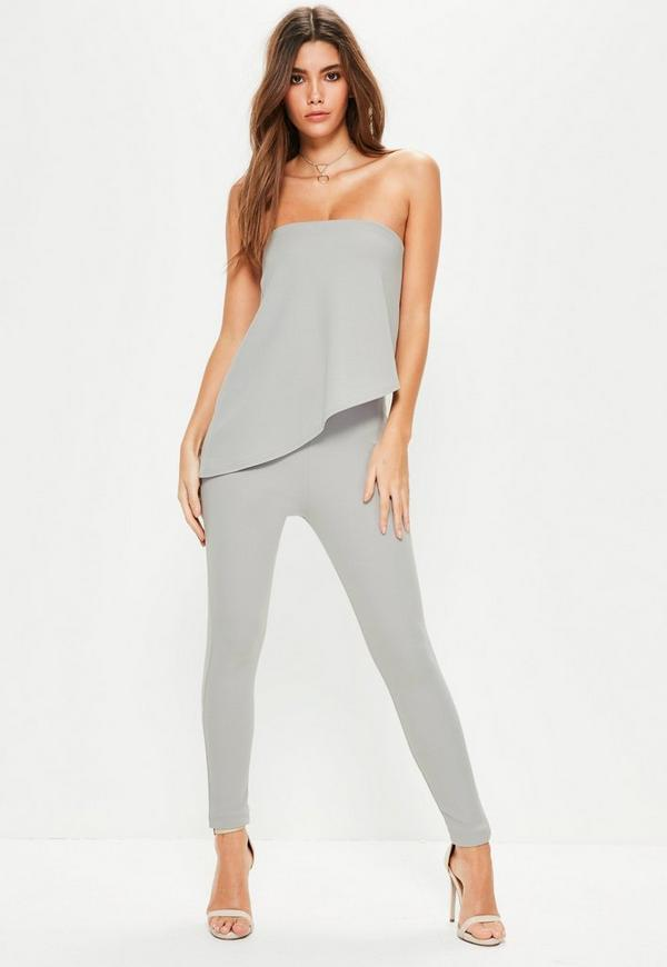 Grey Bandeau Asymmetric Double Layer Jumpsuit