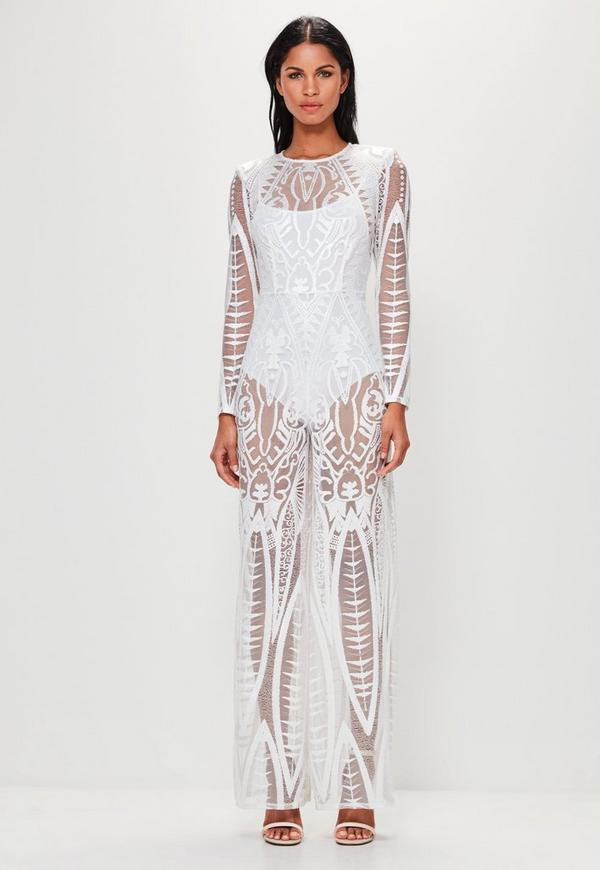 Peace + Love White Lace Wide Leg Jumpsuit