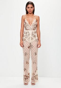 Peace + Love Nude Embellished Cami Jumpsuit