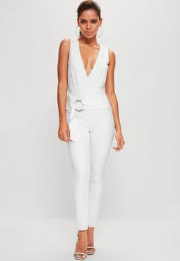 White Hoop Detail Plunge Sleeveless Jumpsuit