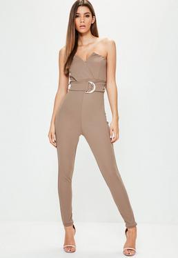 Nude Bandeau Tux Wrap Belted Jumpsuit