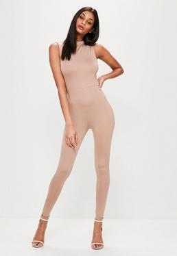nude high neck sleeveless slim jumpsuit