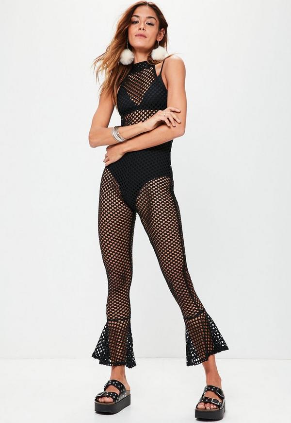 Black Flared Ankle Fishnet Jumpsuit