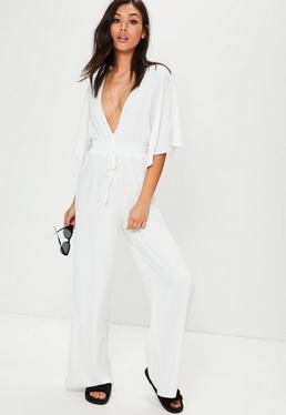 White Wide Leg Plunge Gathered Waist Jumpsuit