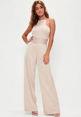 Nude Satin Belted Wide Leg Jumpsuit