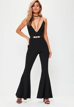 Black Plunge Flare Tailored Jumpsuit