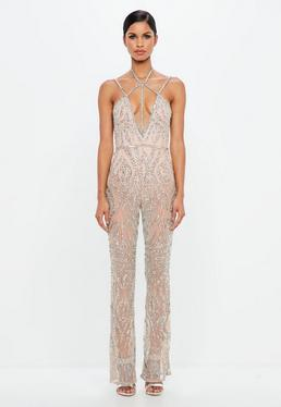 Peace + Love Nude Strappy Embellished Wide Leg Jumpsuit