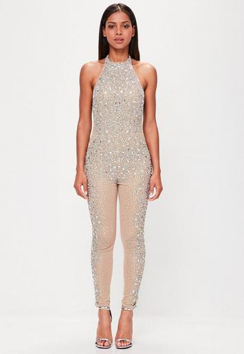 Peace Love Nude Embellished Low Back Jumpsuit Missguided