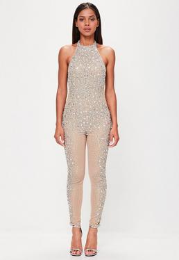 Peace + Love Nude Embellished Low Back Jumpsuit