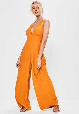 Orange Cheesecloth Halterneck Plunge Jumpsuit
