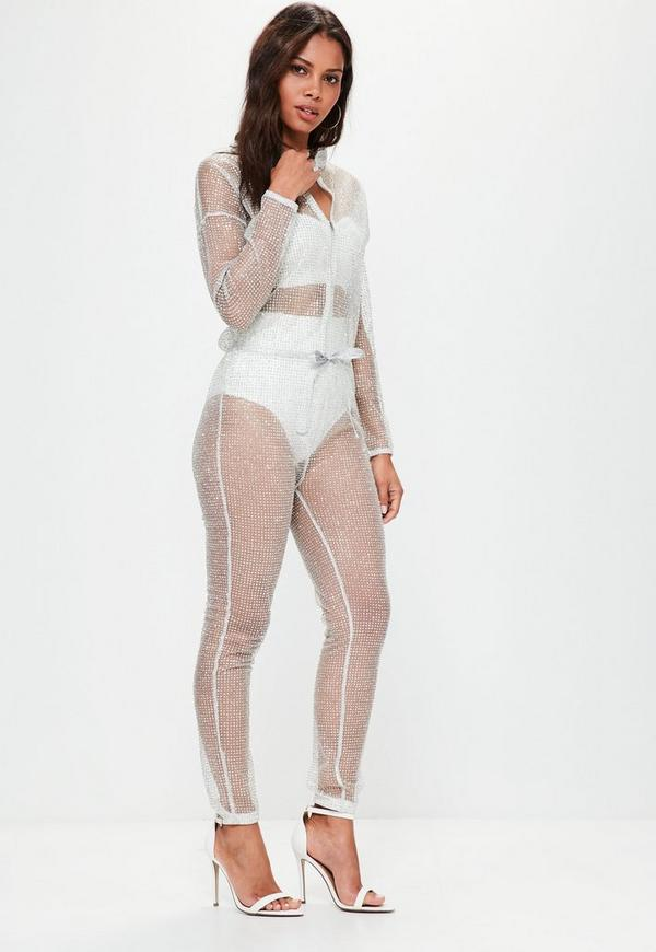 Silver Sparkle Metallic Jumpsuit   Missguided
