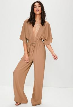 Tan Wide Leg Plunge Gathered Waist Jumpsuit
