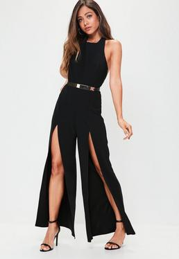 Black Split Wide Leg Jumpsuit