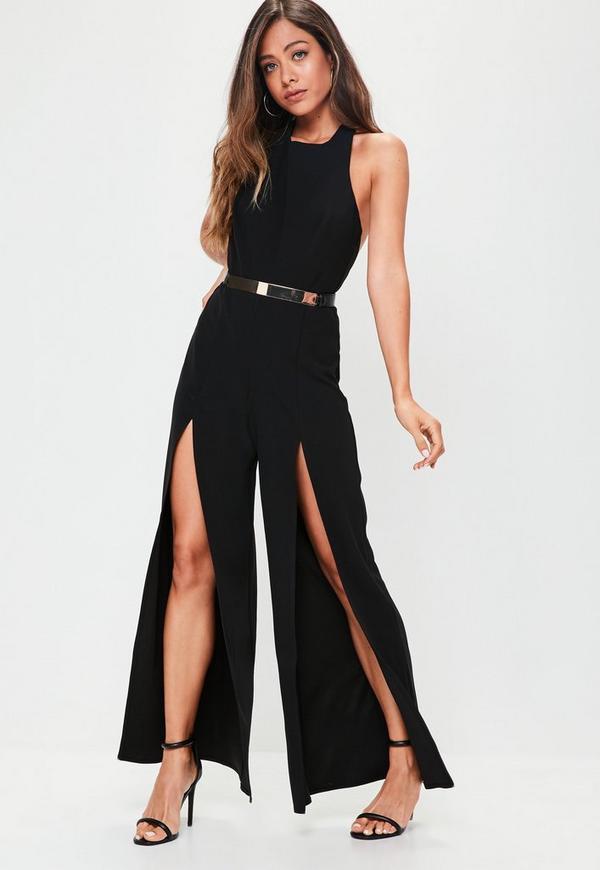Black Split Wide Leg Jumpsuit