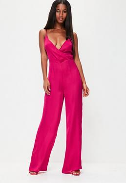 Pink Satin Wrap Front Strappy Jumpsuit