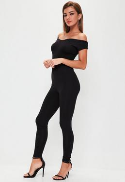Black Jersey Bardot Unitard Jumpsuit