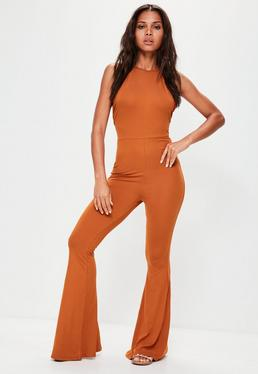Orange Jersey Halterneck Flared Leg Jumpsuit