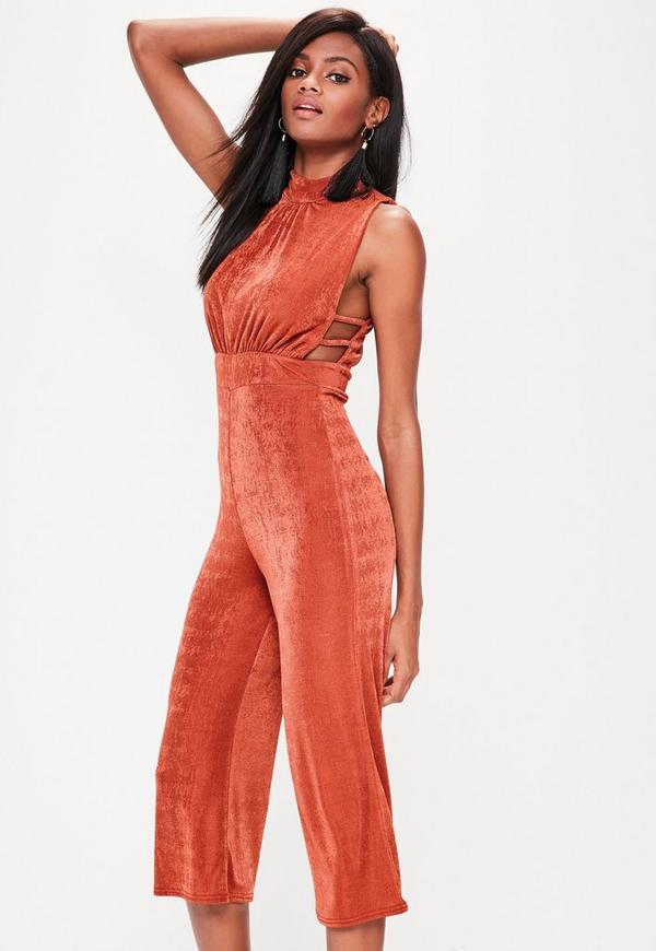 Brown High Neck Open Side Culotte Jumpsuit