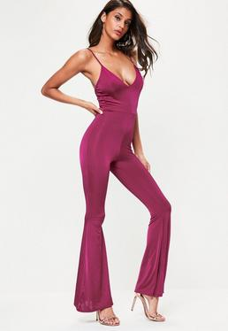 Purple Slinky Strappy Flare Leg Jumpsuit