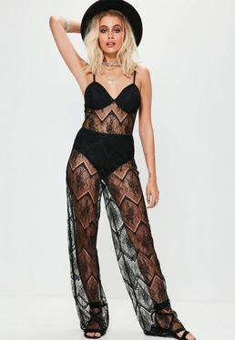 Black Full Lace Bra Insert Jumpsuit