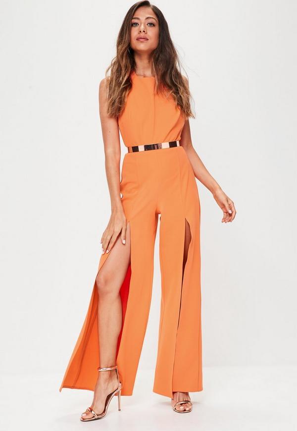 Orange Split Wide Leg Jumpsuit