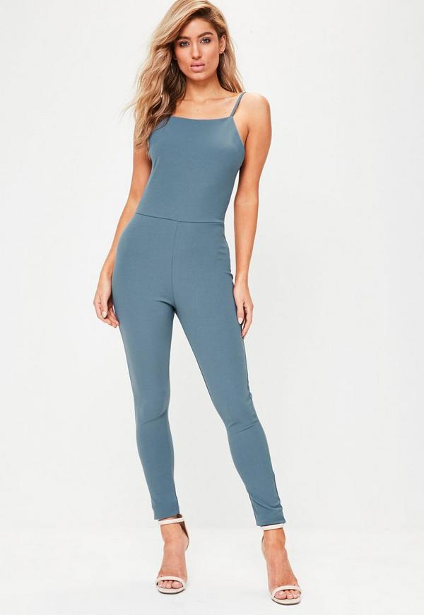 Blue Crepe Low Back Unitard Jumpsuit
