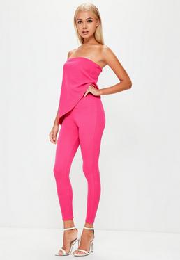 Pink Bandeau Asymmetric Layer Jumpsuit