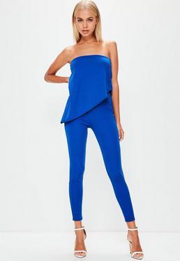 Blue Bandeau Asymmetric Layer Jumpsuit
