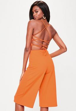 Orange Cross Back Strappy Culottes Jumpsuit