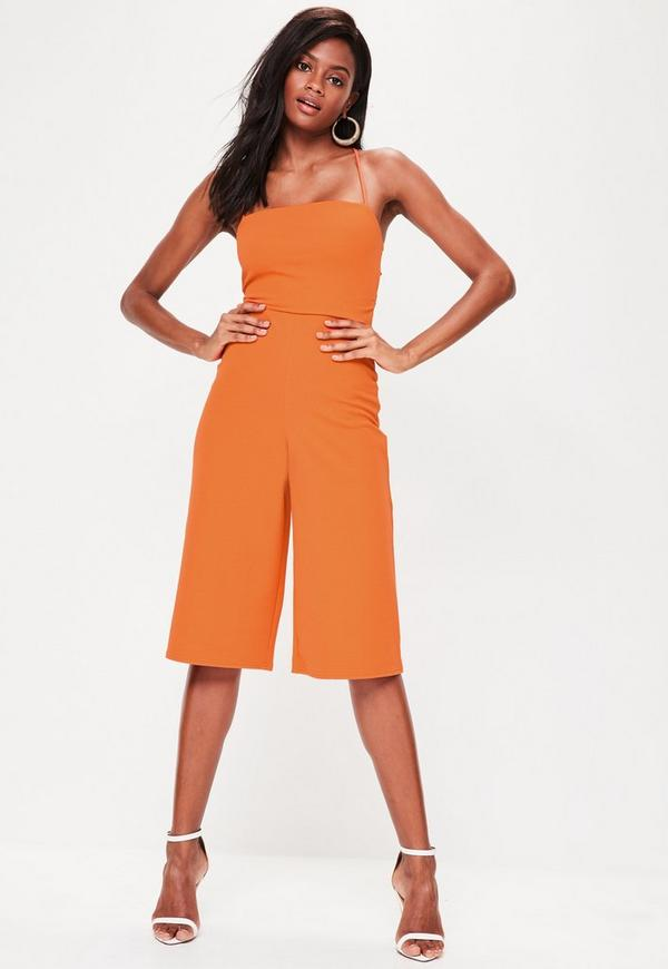 Orange Cross Back Strappy Culottes Jumpsuit | Missguided