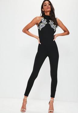 Black Applique Racer Unitard Jumpsuit