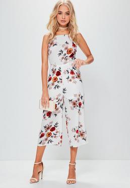Combinaison jupe culotte blanche à imprimé fleuri