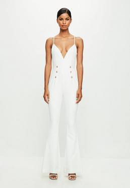 peace + love White Strappy Double Button Flared Jumpsuit