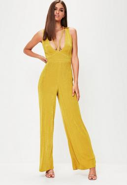 Yellow Plunge Front Wide Leg Jumpsuit
