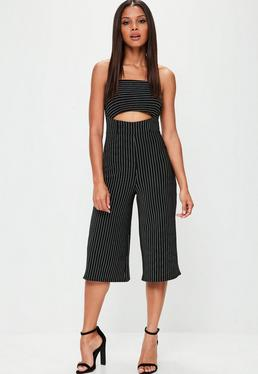 Black Striped Culotte Jumpsuit