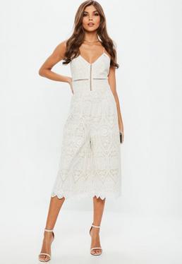 White Cami Lace Culotte Jumpsuit