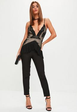 Black Lace Tassel Bodice Jumpsuit