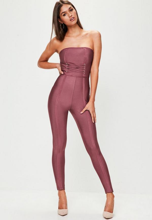 Purple Lace Up Front Bandeau Bandage Jumpsuit