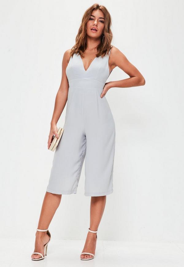 Grey Plunge Front Culotte Jumpsuit