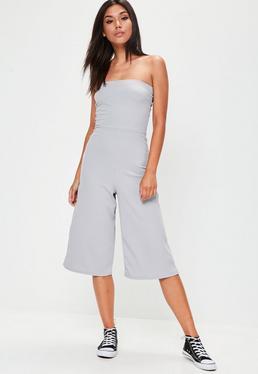 Combi-jupe-culotte grise coupe bustier