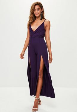 Purple Jersey Wrap Wide Leg Jumpsuit