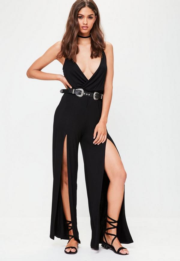 Black Wrap Wide Leg Jumpsuit