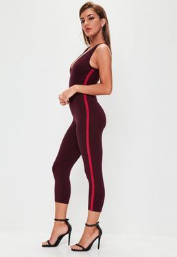 Burgundy Jersey Side Stripe Unitard Jumpsuit