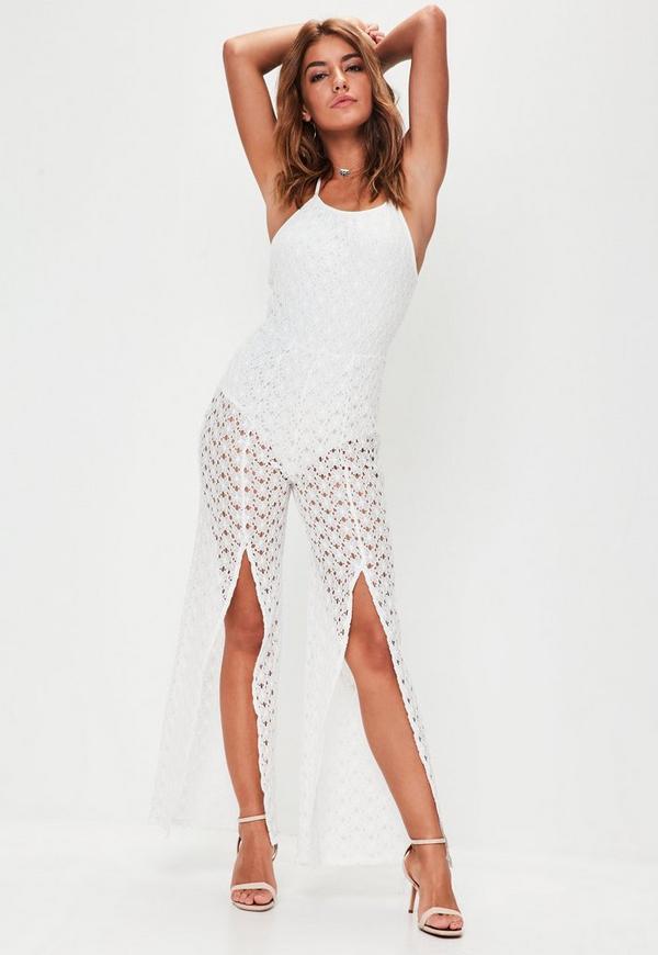 White Lace Halterneck Jumpsuit