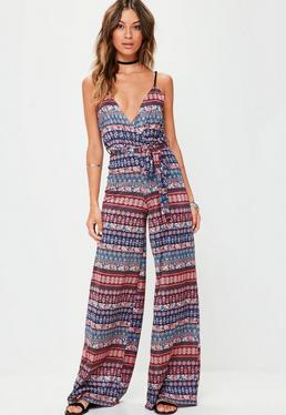 Navy Tile Print Slinky Wide Leg Jumpsuit