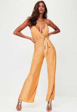 Gold Slinky Wide Leg Jumpsuit