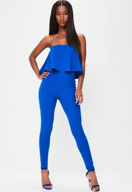 Blue Bandeau Unitard Jumpsuit