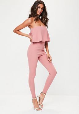 Pink Bandeau Unitard Jumpsuit